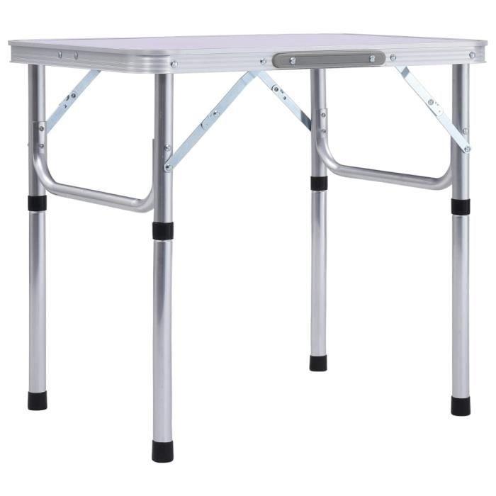 1540MGQ® Super Table de Camping Portable Table de Jardin Pliable de 4 à 6 places Décor,Table de pique-nique Blanc Aluminium 60x45 cm