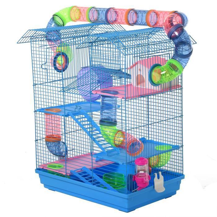 Cage pour Hamster Souris Petit Animaux Rongeur avec Tunnel Mangeoire Roue Jouet 47 x 30 x 59 cm cm Bleu 47x30x59cm