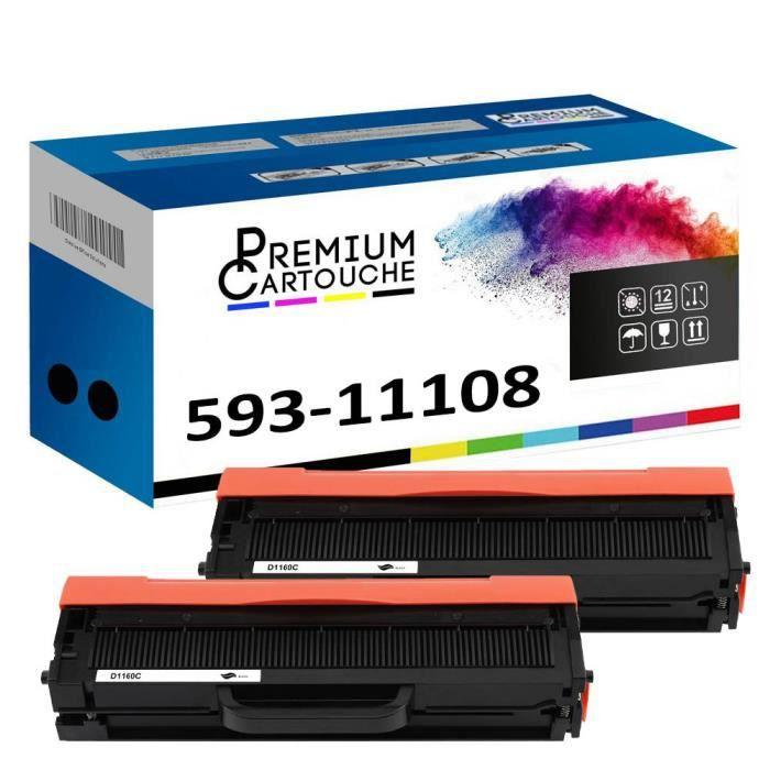 Toner 593-11108 HF44N Noir x2 Compatible pour Dell B1100 Series B1160 B1160w B1163w B1165nfw Dell B1100 Series B1160 B1160w B1163w B