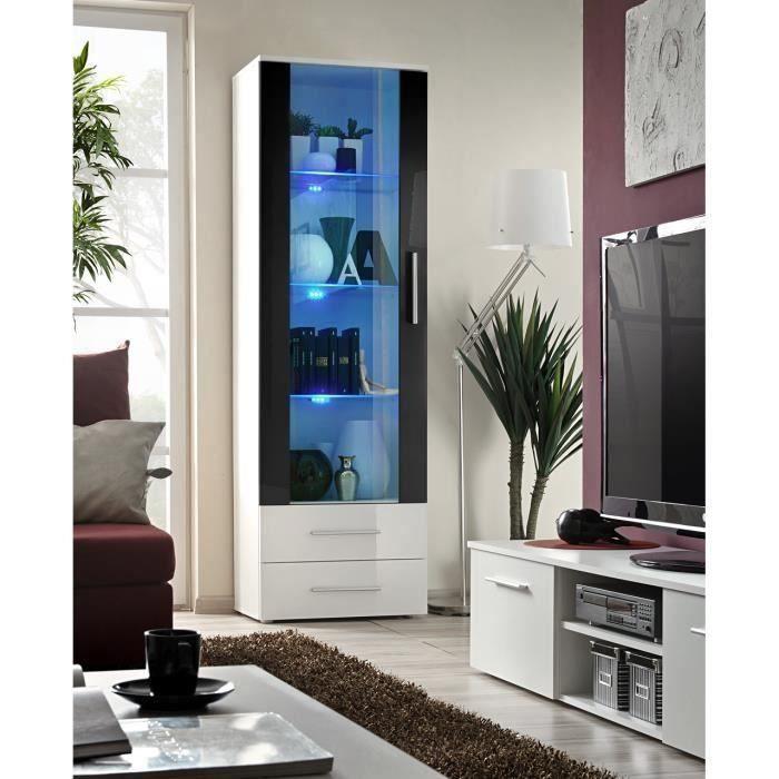 Vitrine NEO 1 design, coloris blanc et noir brillant + LED. Meuble moderne et tendance pour votre salon. 40 Blanc