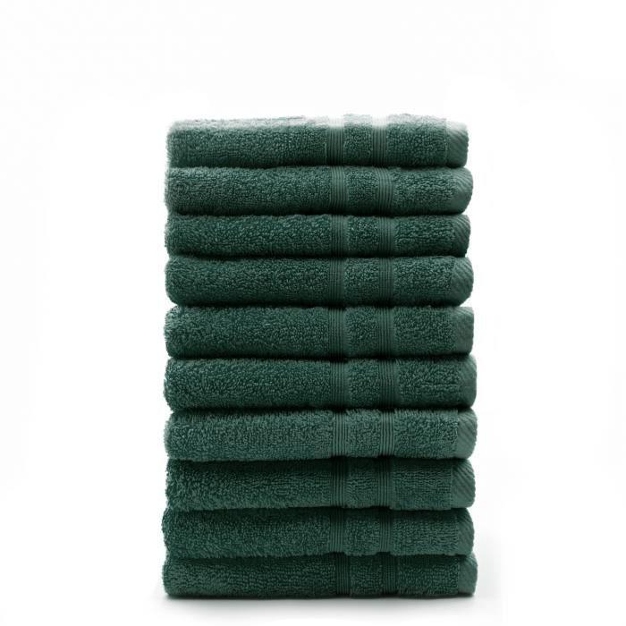 TODAY Lot de 10 Serviettes de toilette Émeraude - 100% Coton - 50 x 100 cm