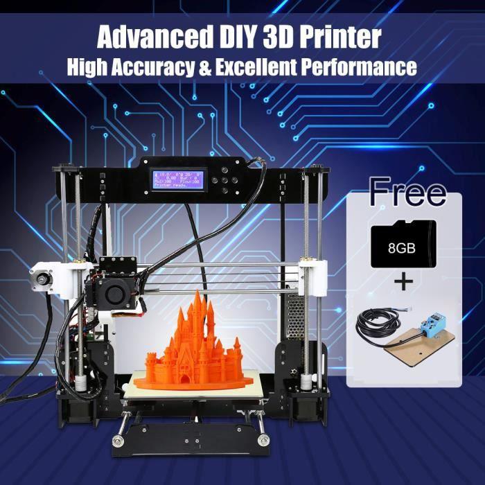 Anet A8 Amélioré Imprimante 3D Reprap i3 Diy Kit Auto assemblage Auto nivellement 8Gb Sd Carte Soutien Diverse Filament