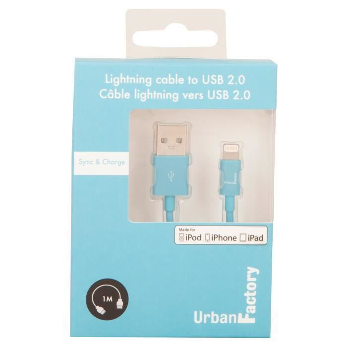 URBAN FACTORY Câble USB to Lightning MFI certified - 1 m - Rouge