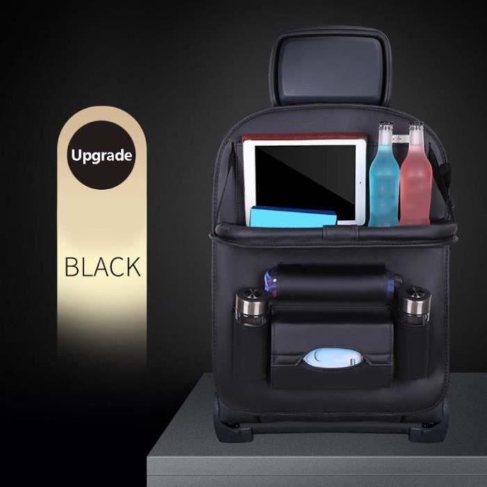 PT21997-Organiseur pour voiture Imperméable, Sac de rangement pour organisateur de siège auto en cuir PU avec Multi-Poches Noir
