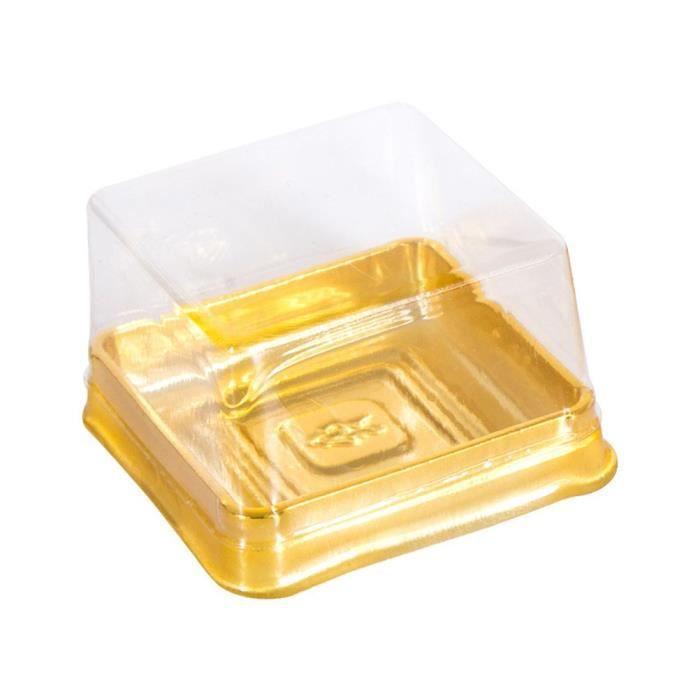 5.5x5.5x4cm Golden -50pcs Mini Boîtes À Gâteaux Et Emballages Boîte Boîte En Plastique Transparente Pour Gâteau Avec Couvercle Jaune