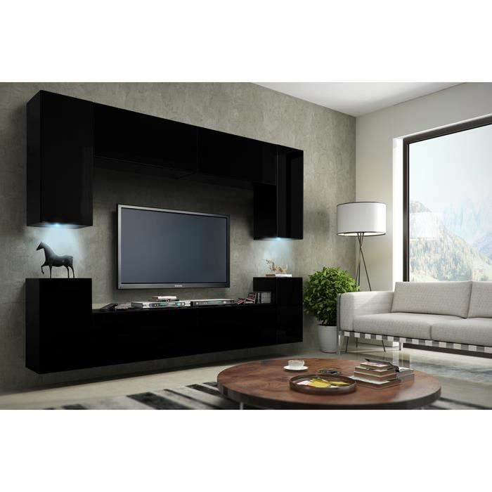meuble de salon meuble tv complet suspendu concept corps noir mat fa ades noires mat led. Black Bedroom Furniture Sets. Home Design Ideas