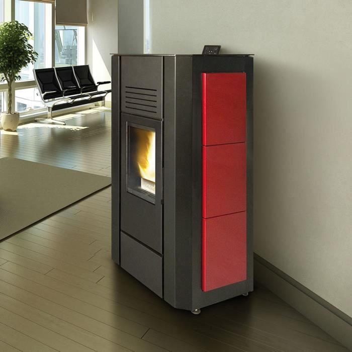 po le granul s hydro 20 kw design caliora 2 noir et rouge achat vente po le insert. Black Bedroom Furniture Sets. Home Design Ideas