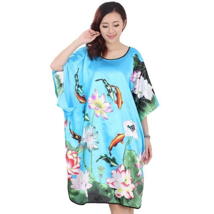 femmes pyjama chemise robe de nuit robe de bain de chambre peignoir poisson lotus bleu du lac. Black Bedroom Furniture Sets. Home Design Ideas