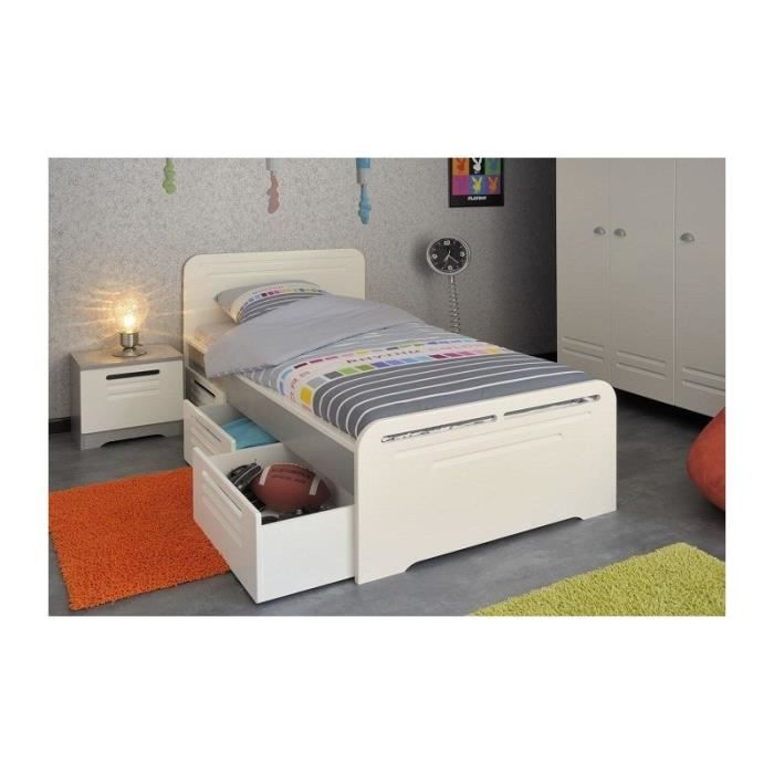 lit 90x200 tiroirs avec chevet chambre enfant gris et ivoire locker achat vente lit. Black Bedroom Furniture Sets. Home Design Ideas