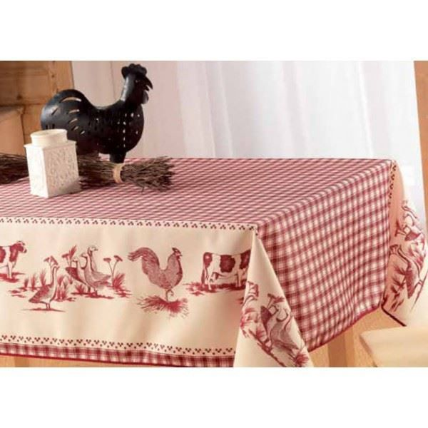 nappe basse cour rouge achat vente nappe de table cdiscount. Black Bedroom Furniture Sets. Home Design Ideas