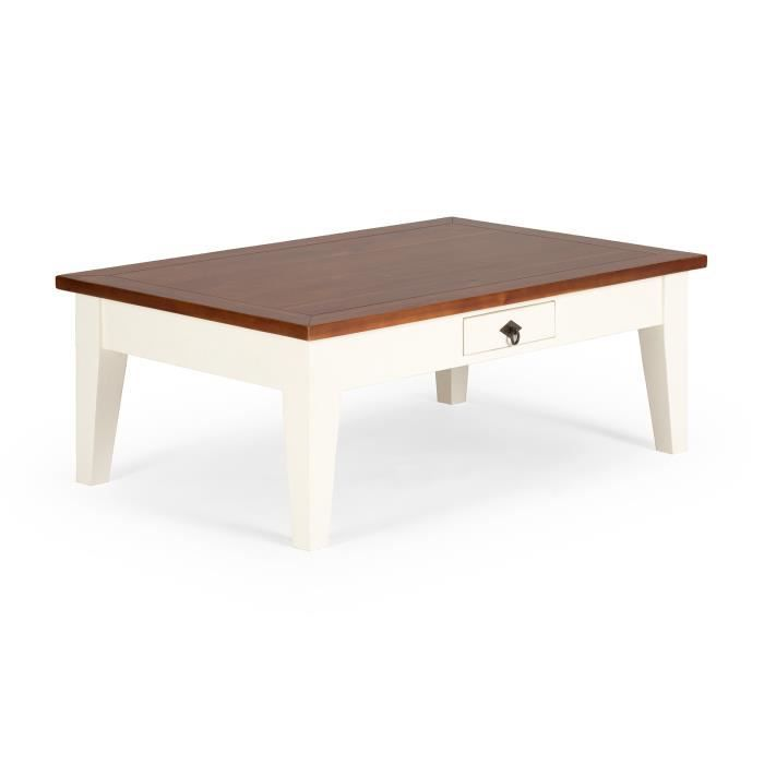 Table basse san diego 120x80cm en acacia blanc marron - Table basse en acacia ...