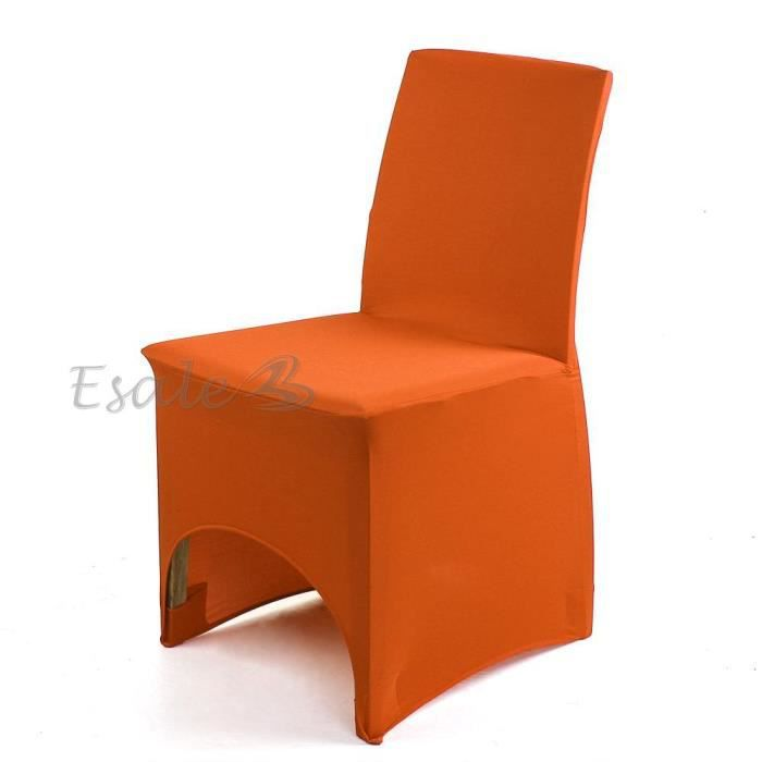 housse de chaise orange en lycra extensible d co mariage anniversaire f te neuf achat vente. Black Bedroom Furniture Sets. Home Design Ideas