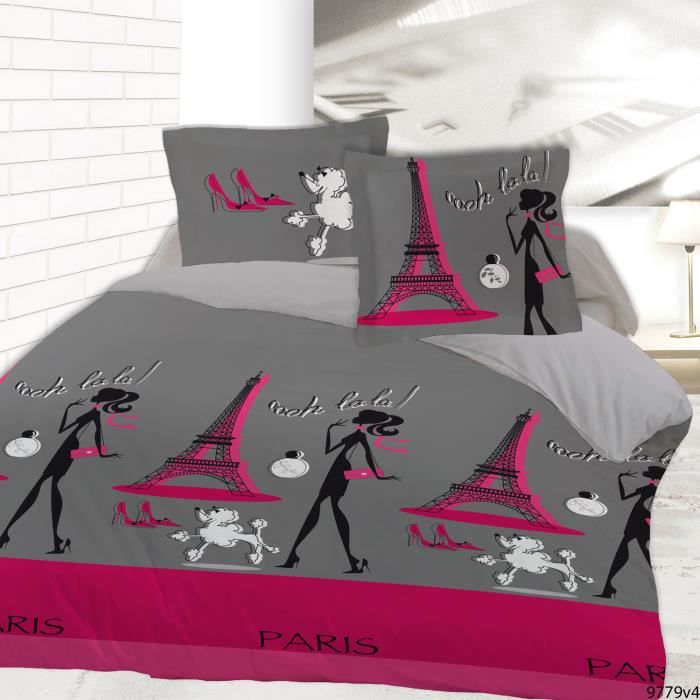 housse de couette le chic de paris 220x240 et 2 achat. Black Bedroom Furniture Sets. Home Design Ideas