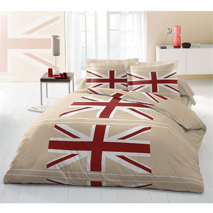 casatxu parure de couette flag beige 3 pcs 240x260 achat. Black Bedroom Furniture Sets. Home Design Ideas
