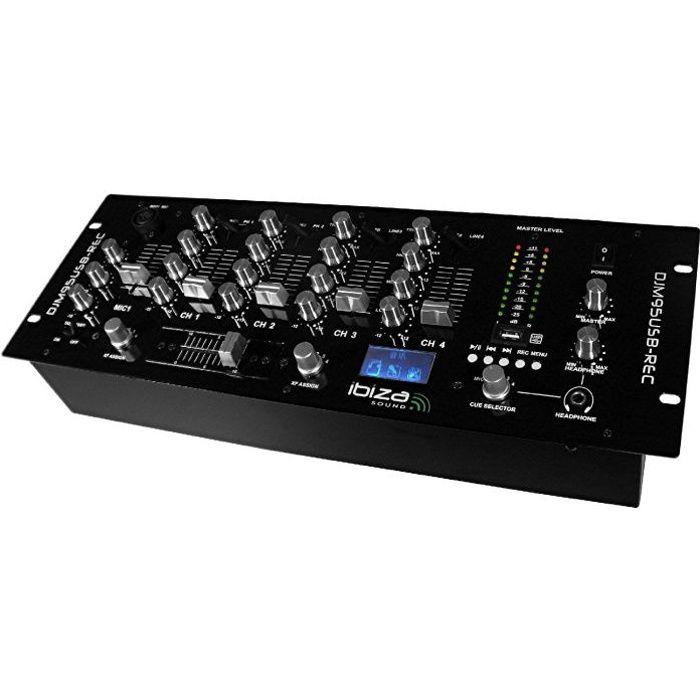 """TABLE DE MIXAGE IBIZA SOUND DJM95USB-REC Table de mixage 19"""" avec"""