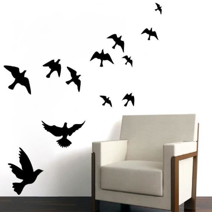 Fond d 39 cran noir oiseau volant decal stickers muraux for Decoration murale oiseau 3d