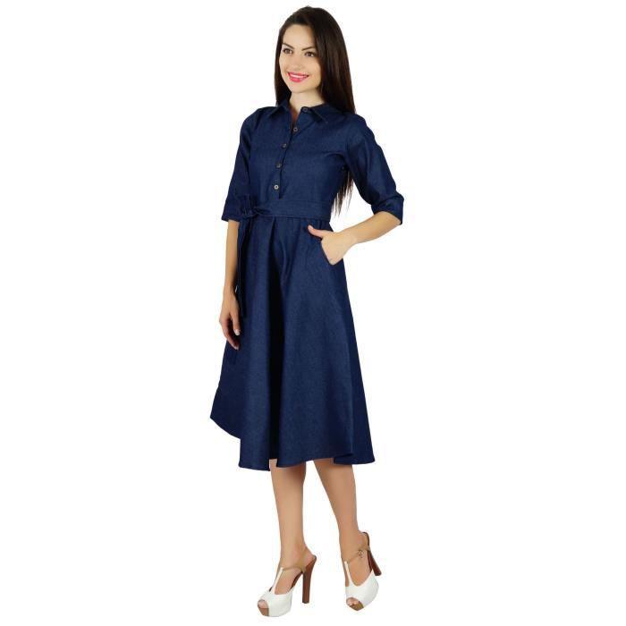 Bimba Femme Bleu Denim Robe Avec Poche Casual Cap manches chic-Zt2