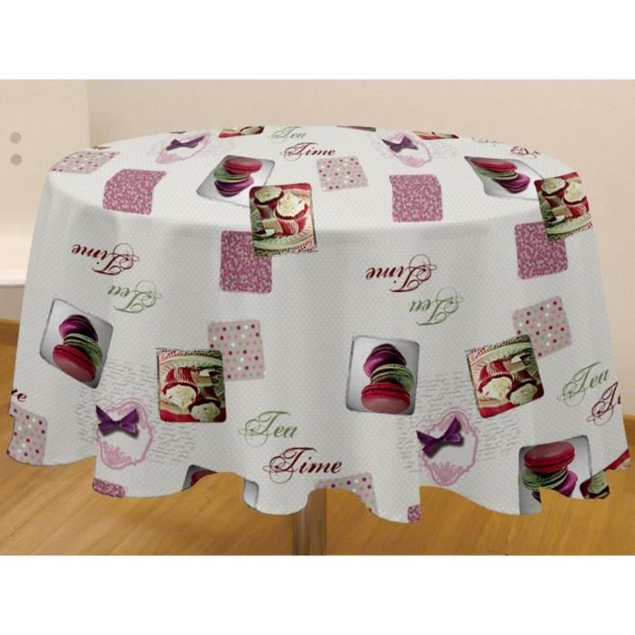 nappe toile cir e ronde tea time achat vente nappe de table cdiscount. Black Bedroom Furniture Sets. Home Design Ideas