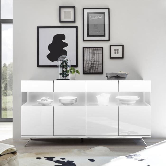 BUFFET - BAHUT  Buffet 4 portes Laqué Blanc à LEDs - TARENTE n°1 -
