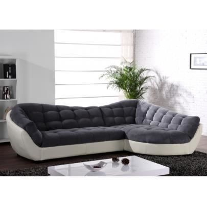 canap d 39 angle tissu et cuir leandro gris et bla achat vente canap sofa divan cdiscount. Black Bedroom Furniture Sets. Home Design Ideas