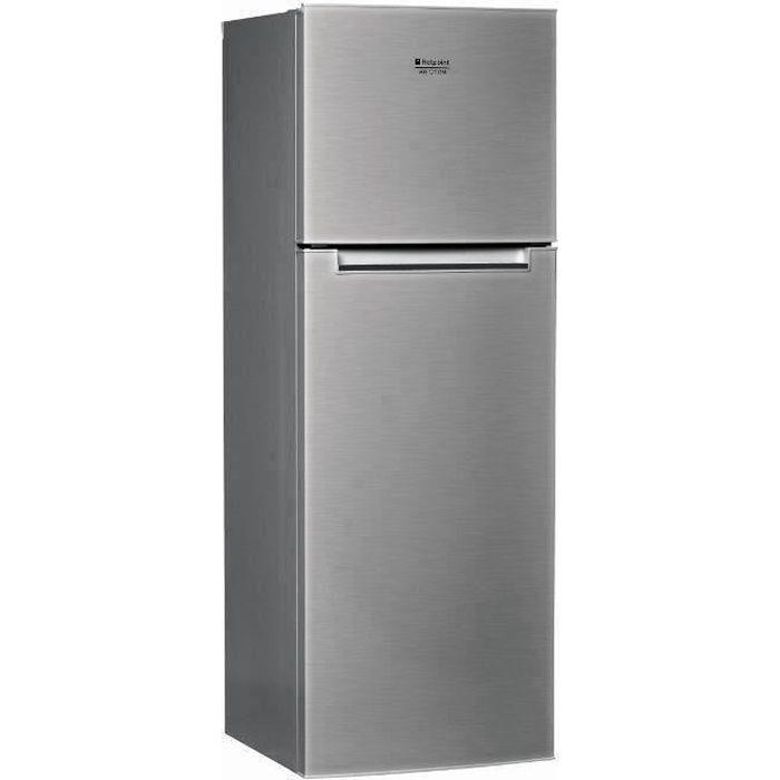 HOTPOINT HTM1722V -Réfrigérateur congélateur haut-300 L (226+74 L )-Froid brassé et statique congélateur-A+-L 60 x H 170 cm-Inox