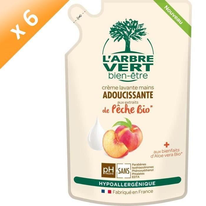 L'ARBRE VERT Recharges Crème lavante mains - Pêche Bio - 300 ml - Lot de 6
