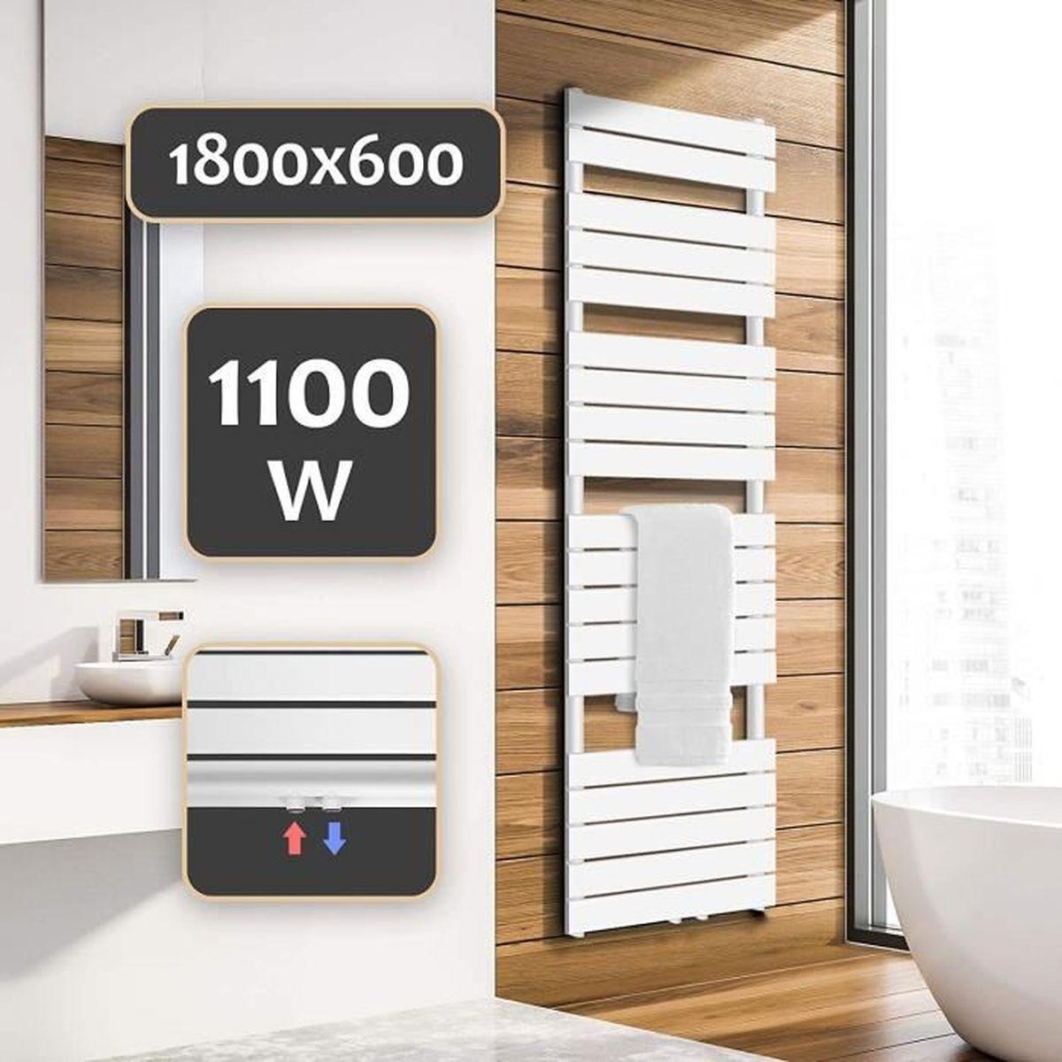 Sèche-Serviette pour Salle de Bain - Blanc, 20x20 mm, Montage au Mur, en  Acier Inoxydable, Format Vertical - Radiateur