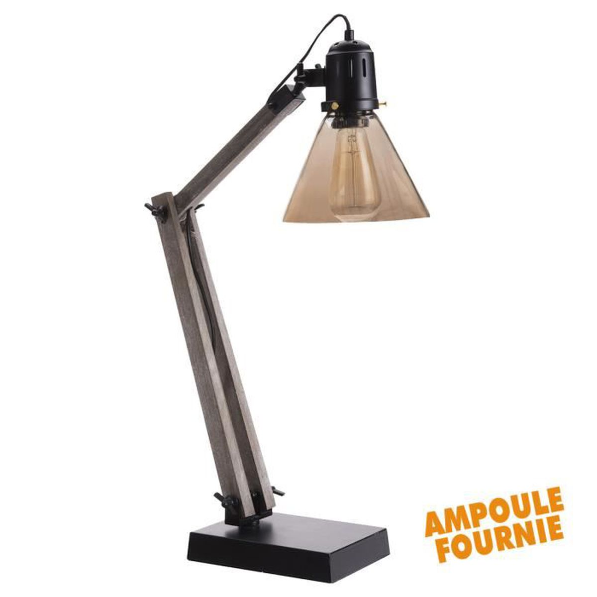 lampe poser style industriel structure bois abat jour conique en verre ampoule edison e27. Black Bedroom Furniture Sets. Home Design Ideas