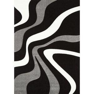 TAPIS DIAMOND Tapis de salon noir, gris et blanc
