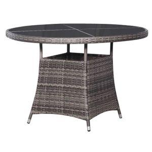 SALON DE JARDIN  Table de jardin Gris 110 x 74 cm Résine tressée