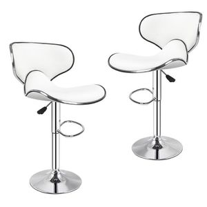 TABOURET DE BAR Lot de 2 Tabourets de bar blanc haut Chaise de bar