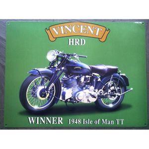 OBJET DÉCORATION MURALE plaque moto vincent HRD winner 1948 tole deco gara