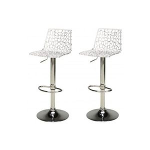 tabouret de bar lot de 2 tabourets de bar design transparents smar - Tabouret Salle De Bain Transparent