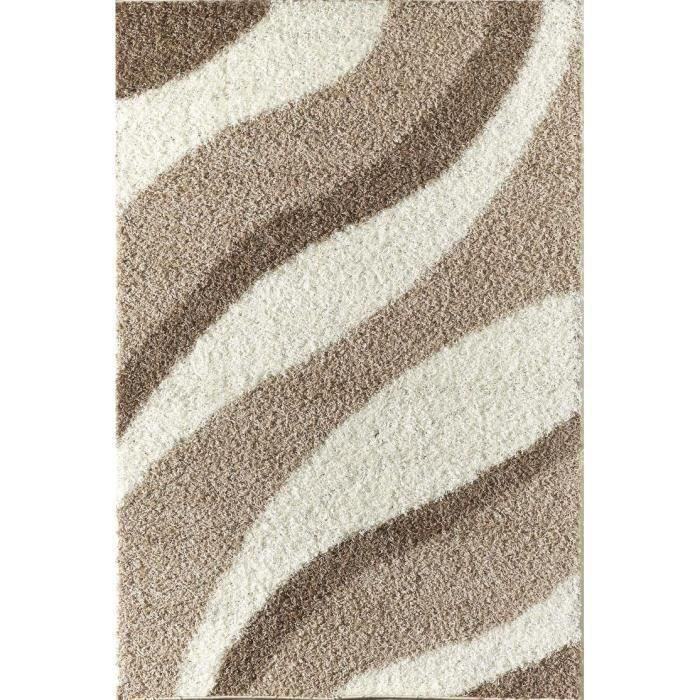 Torino tapis de salon shaggy beige 160x230 cm achat for Tapis salon contemporain