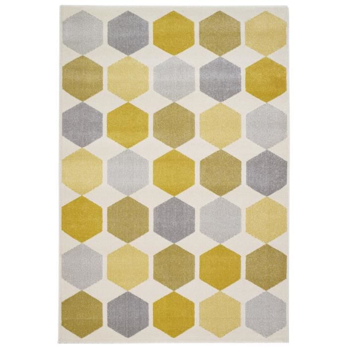 Tapis scandinave jaune for Tapis salon jaune et gris