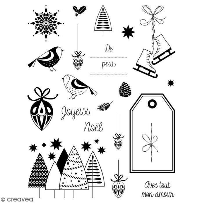 Tampons transparents Artemio - Noël classique - 21 pcs ampons transparents Artemio, parfaits pour des créations de Noël : Motifs: