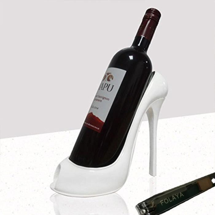 forme de haut talon de chaussure Porte-bouteille de vin Rack élégant vin Accessoires pour Home Décor--Blanc