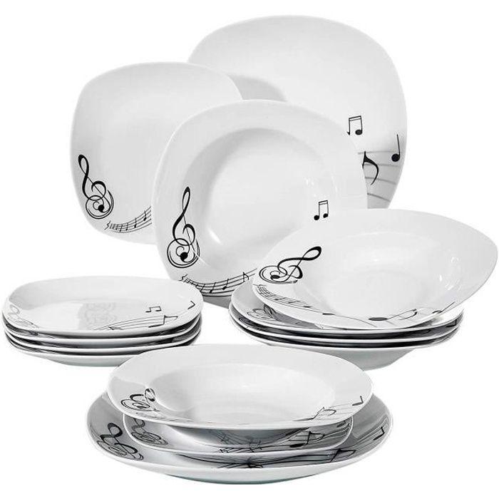 Veweet MELODY 18pcs Assiettes Service de Table Pocelaine Assiettes Plates Assiette Creuse Assiette à Dessert Vaisselles
