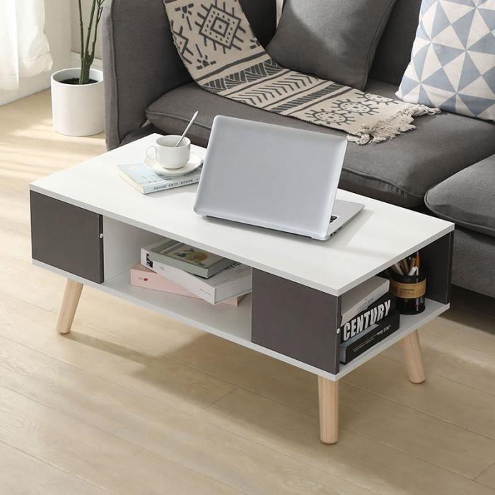 Table Basse Buffet Bas Style Scandinave Meuble TV pour Salon, Chambre Blanc et Gris 90x45x39cm