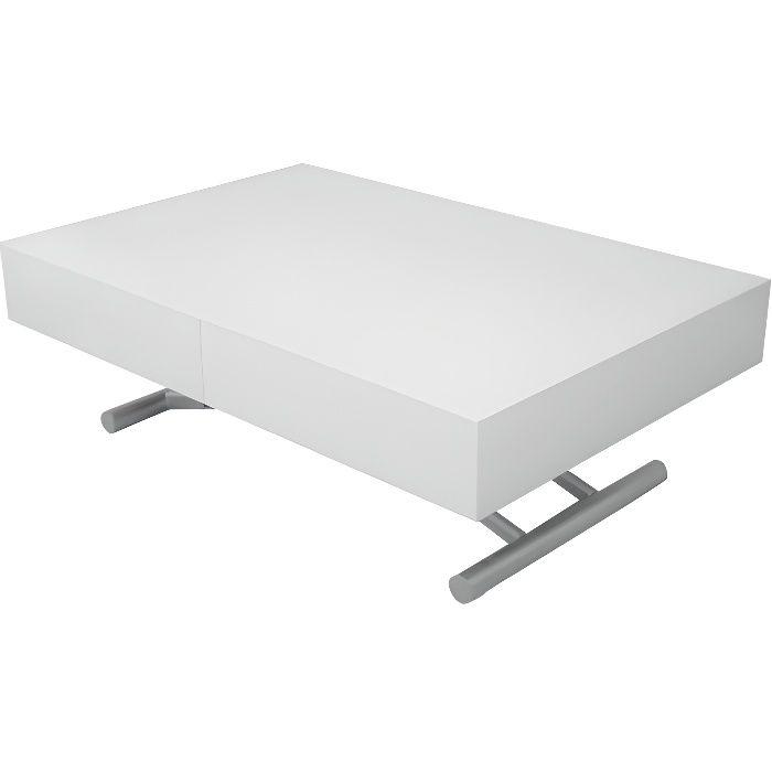 TABLE BASSE RELEVABLE EXTENSIBLE BLANC LAQUÉE SMART XXL