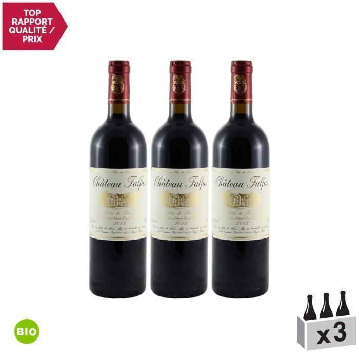 Château Falfas Rouge 2013 - Bio - Lot de 3x75cl - Appellation AOC Côtes de Bourg - Vin Rouge de Bordeaux - Cépages Cabernet Franc,