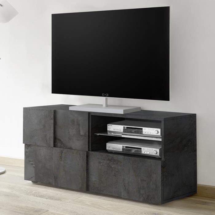 Meuble TV 120 cm moderne anthracite SANDREA 5 Gris L 122 x P 43 x H 57 cm