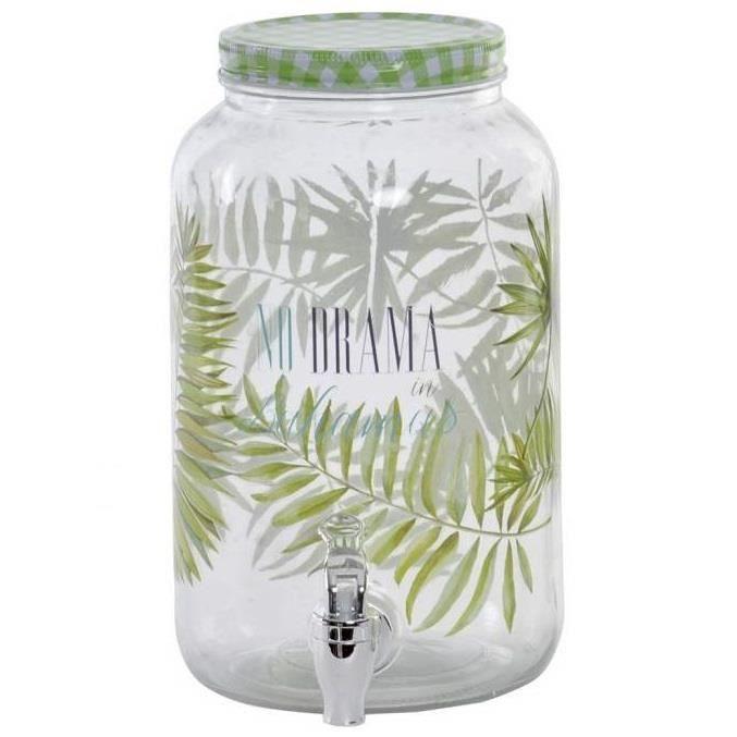 Bocal avec robinet - Distributeur de boissons couvercle vert déco Tropique - - Bahamas - - 3 L