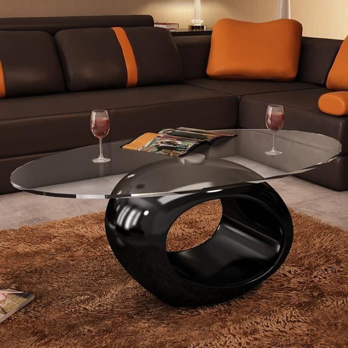 Table basse de salon moderne Scandinave Table Café 115 x 65 x 40 cm (L x l x H)avec dessus de table en verre ovale Noir brillant