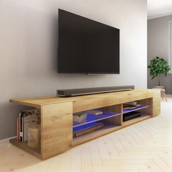 Meuble TV / Meuble de salon - MITCHELL - 180 cm - chêne wotan - éclairage LED bleu à piles - style moderne