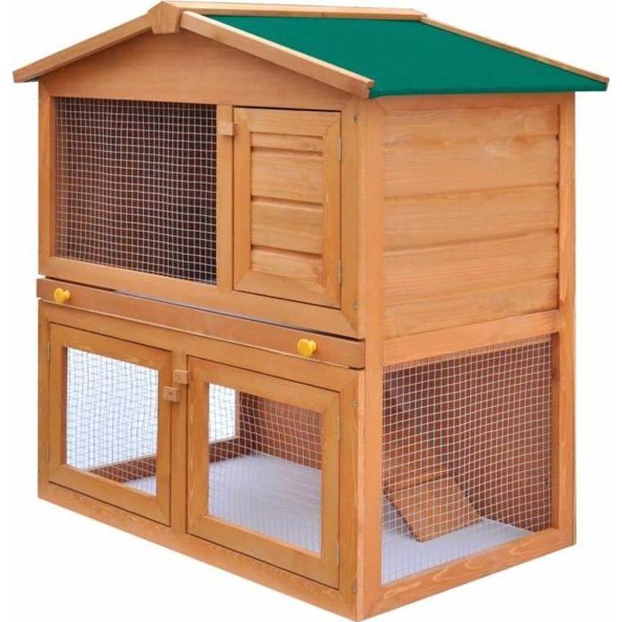 Clapier lapin extérieur Cage Clapier lapin Enclos Enclos pour petits animaux 3 portes Bois