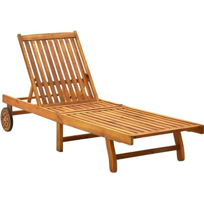 1525Neuve- Chaise longue de jardin,Bain de Soleil Transat de Jardin d'extérieur Camping Bois d'acacia solide