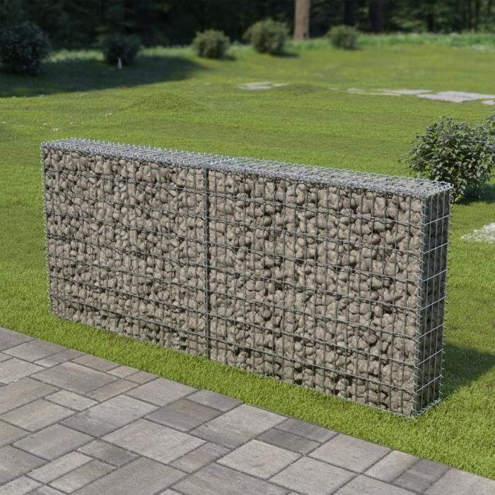 Mur à gabion avec couvercles en Acier Galvanisé pour Projets d'Aménagement Extérieur, 200 x 20 x 85 cm -YES