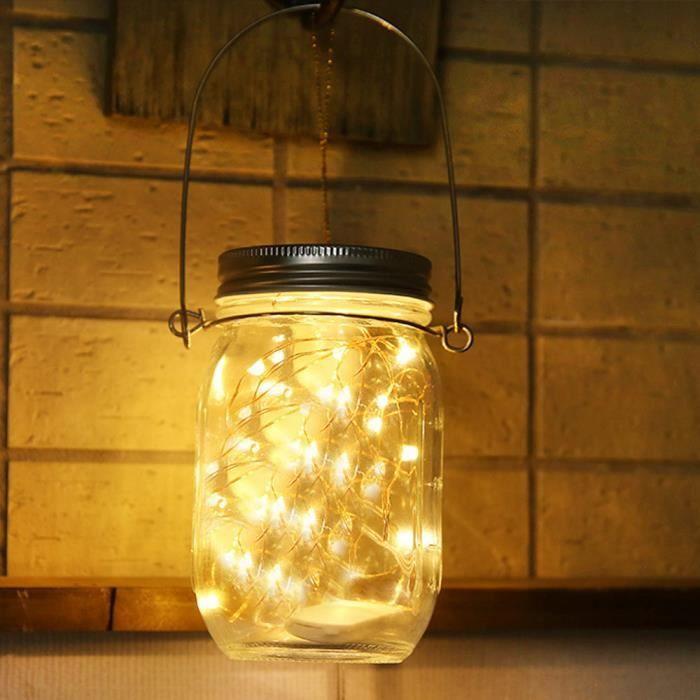 Eclairage De Meuble Pot Mason En Verre Solaire Extérieur Avec Panneau Et Led Intégrés Pour Allumer Ye Lpp80707943Ye