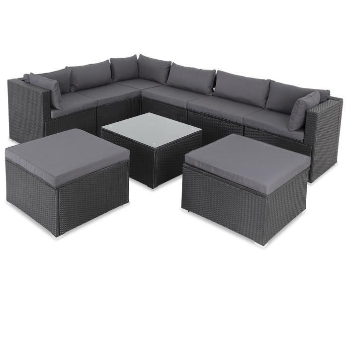 Salon de jardin noir polyrotin 26 pièces lounge ensemble de jardin set table canapé de jardin modulable coussin anthracite housses